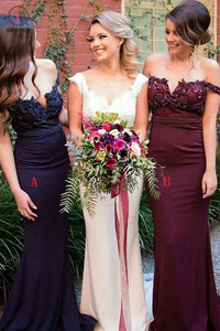 Burgundy Off Shoulder Mermaid Bridesmaid Dress,Sexy V-neck Bridesmaid Dresses KPB0052