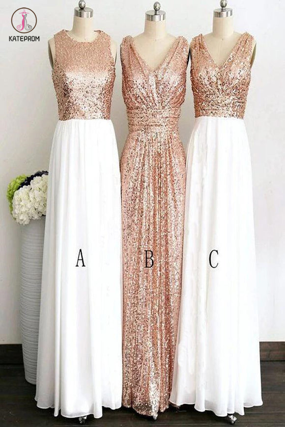 Rose Gold Long White Chiffon Bridesmaid Dresses,Sleeveless V-neck Sequined Bridesmaid Dress KPB0053