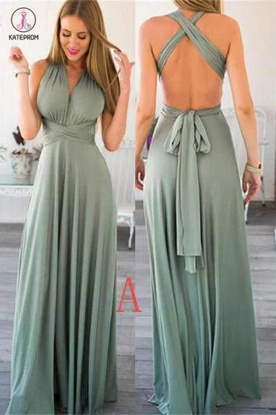 Unique Emerald Floor length Sleeveless Bridesmaid Dresses,Long Prom Gowns KPB0054