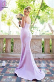 Sexy Mermaid Spaghetti Straps Sleeveless Side Slit Bridesmaid Dress,Long Prom Gown KPB0055