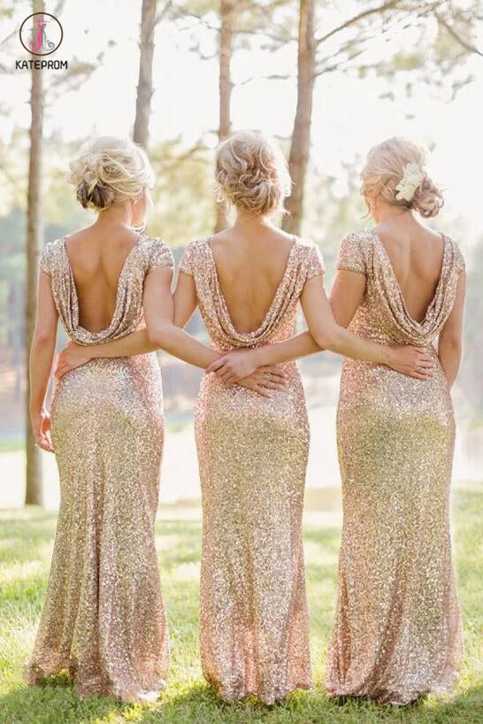 Sheath Sequined Cowl Floor-length Cap Sleeves Prom Dress,Bridesmaid Dresses KPB0056