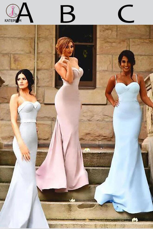 Sexy Spaghetti Straps Trumpet Sweetheart Sweep Train Ruffles Hot Bridesmaid Dresses KPB0057