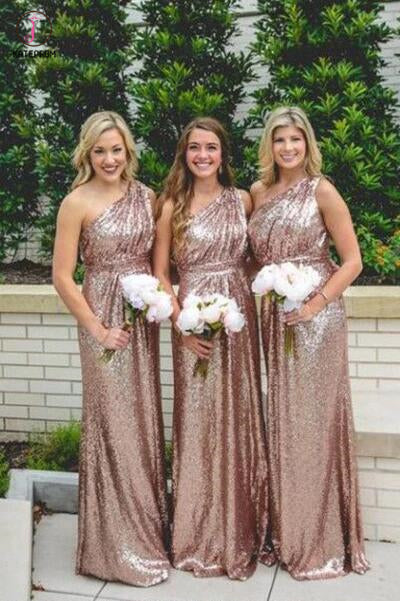 Shiny One shoulder Rose Gold Column Sequined Bridesmaid Dresses,Floor-length Prom Dress KPB0058