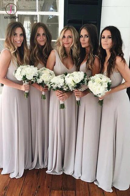 Simple Silver Sleeveless V-neck Ruched Floor-length Bridesmaid Dresses KPB0059