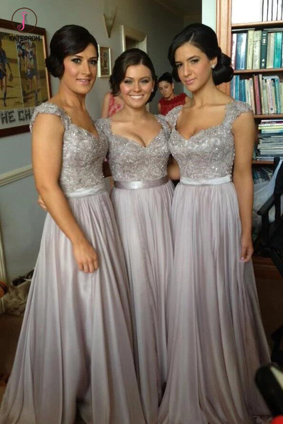 Silver Hot V-neck Chiffon Lace Appliques Bridesmaid Dresses,Prom Dress KPB0060
