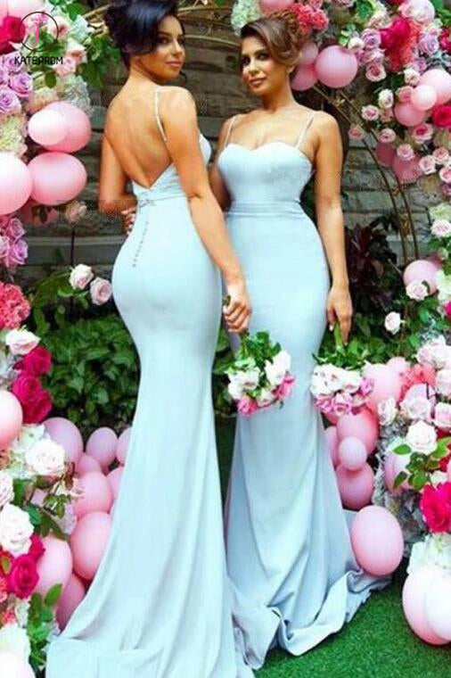 Elegant Blue Mermaid Spaghetti Straps Sweep Train Backless Bridesmaid Dress,Prom Dress KPB0061