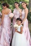 Pastel Pink Trendy One-shoulder Lace Long Bridesmaid Dress,Prom Dresses KPB0062
