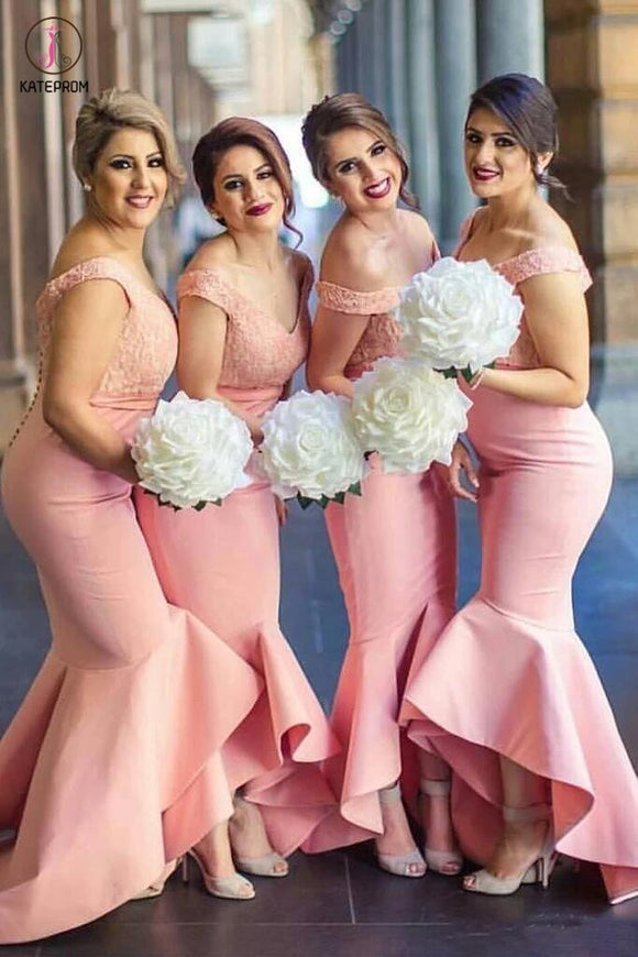 Baby Pink Mermaid Off-the-shoulder Hi-Low with Ruffles Lace Top Bridesmaid Dress KPB0063
