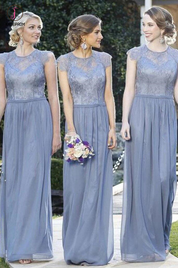 A Line Cheap Lace Top Cap Sleeve Jewel Floor Length Formal Bridesmaid Dresses KPB0064