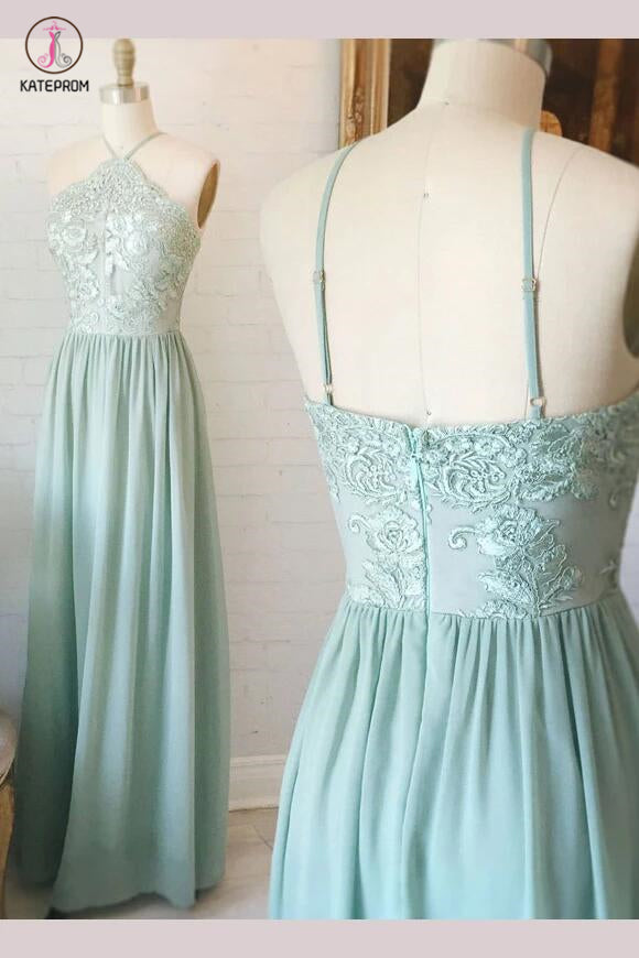 Mint Green Spaghetti Straps Chiffon Floor-length Lace Appliques Bridesmaid Dress KPB0065