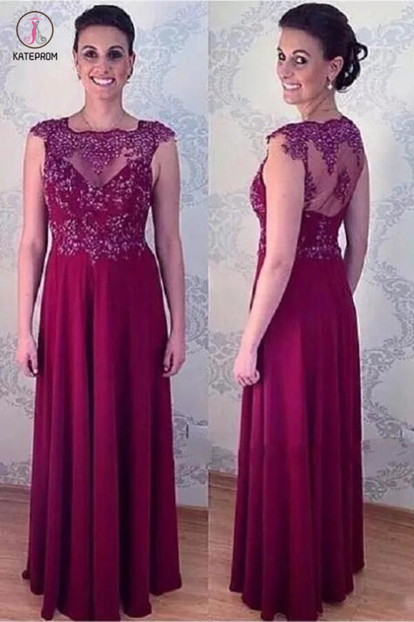 Elegant A Line Long Appliqued Mother Of The Bride Dresses Floor Length Evening Dress KPM0007