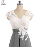 Gray V-neck Cap Sleeves Lace Applique Chiffon Mother of the Bride Dresses KPM0006