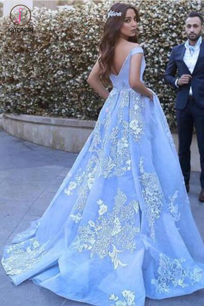 Light Blue Ball Gowns Prom Dresses,Lace Appliques Off Shoulder Big Wedding Dresses KPW0068
