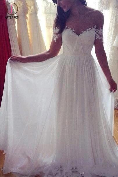 Simple A-Line Off-shoulder Long Appliques Wedding Dresses,Ivory Beach Wedding Dresses KPW0070