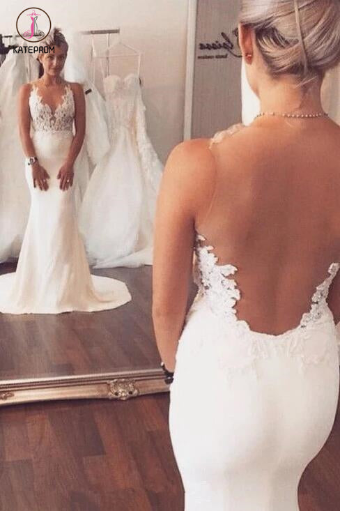 Ivory Appliqued Mermaid Wedding Dress,Long See Through Sleeveless Beach Wedding Dress KPW0071