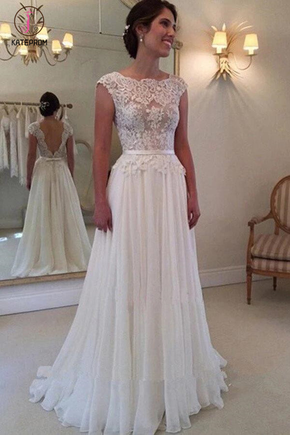 A-line Lace Appliqued Cap Sleeves Ivory Chiffon Bridal Dress,Long Beach Wedding Dresses KPW0072
