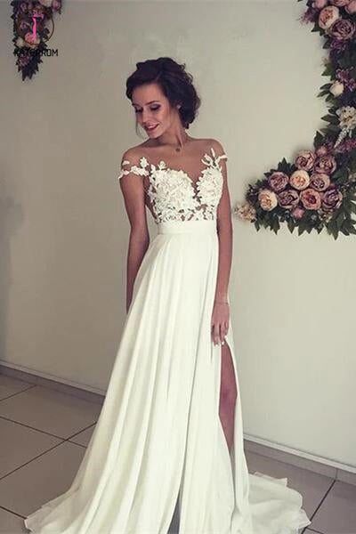 See-through Short Sleeve Lace Appliqued Long Beach Wedding Dress,Ivory Chiffon Bridal Dress KPW0073