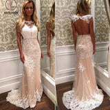 Mermaid Tulle Beach Wedding Dress with White Lace Appliques,Bridal Dress with Beaded Waist KPW0074