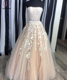 Custom-made Lace Appliques Tulle Long Wedding Dress,Strapless Prom Evening Dresses KPW0075