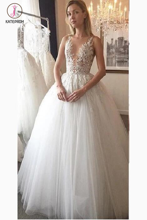 Ivory Deep V-neck Lace Appliqued Tulle Wedding Dress,Sexy Sheer Bridal Wedding Gown KPW0077