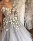 Sexy Straps Ball Gown Wedding Dress,Appliqued Deep V-neck Bridal Dress with Beads KPW0078