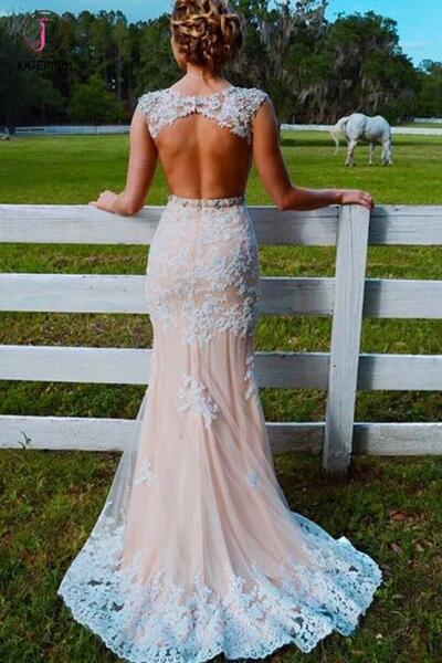Mermaid Sweep Train Open Back Tulle Prom Dress with Appliques,Mermaid Wedding Dress KPW0079