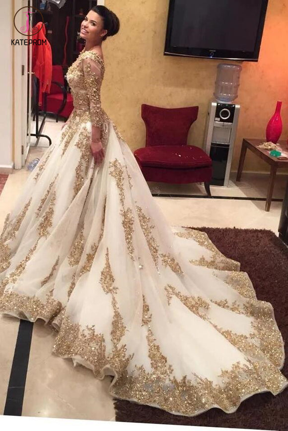 Luxurious Gold Lace Appliques 3/4 Sleeves V Neck Ball Gown Tulle Wedding Dress,Big Prom Dress KPW0080