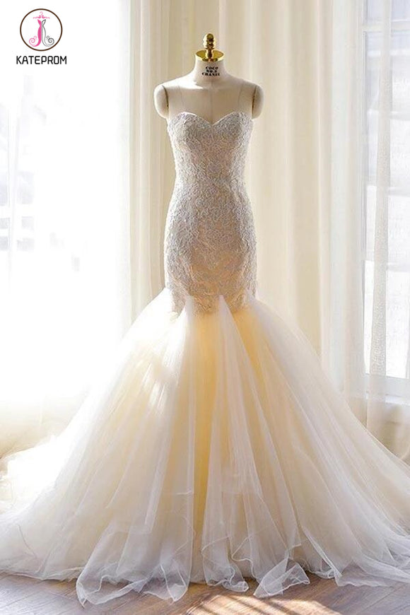 Gorgeous Ivory Sweetheart Tulle Mermaid Lace-Appliques Wedding Dress,Strapless Bridal Dress KPW0083