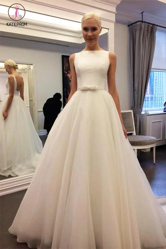 Elegant Ivory Bateau Backless Sleeveless A-line Tulle Wedding Dress with Belt KPW0084