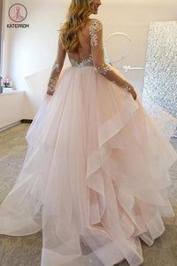 A-Line Long Sleeves Tulle Sheer Neck Wedding Dresses With Appliques,Sexy Bridal Gown KPW0085