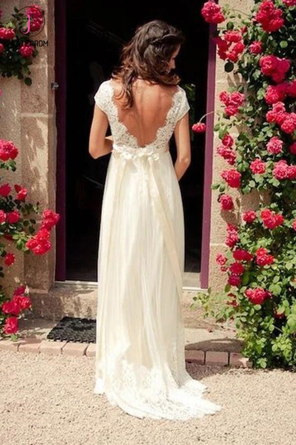 A-line V-neck Cap Sleeves Sweep Train Backless Wedding Dress With Sash,Beach Wedding Dress KPW0087