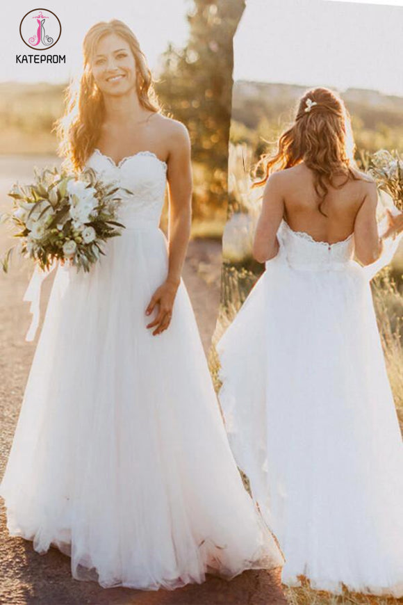 Sexy Sweetheart White Tulle Backless Beach Wedding Dress with Lace,Long Bridal Dresses KPW0088