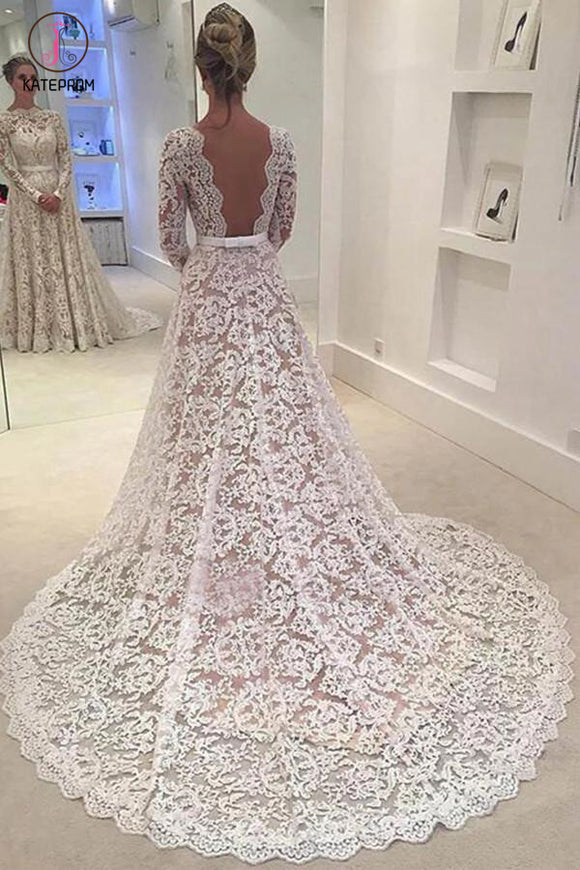Elegant Ivory A-line Bateau Lace Long Sleeve Backless Wedding Dress With Court Train KPW0089
