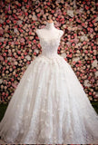 Vintage Princess Sleeveless Ball Gown Ivory Wedding Dress with Flowers and Beads KPW0091