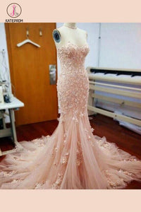 Pink Sweetheart Mermaid Long Prom Dress with Handmade Flowers,Beach Wedding Dress KPW0092