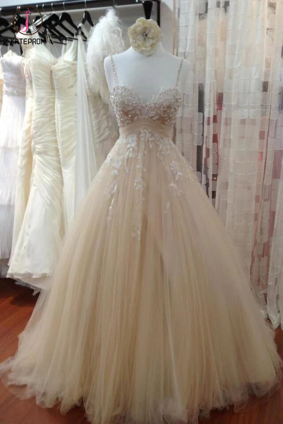 A Line Tulle Long Prom Dress with Straps,Sweetheart Lace Appliques Wedding Dress KPW0093