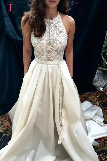 Ivory A-line Halter Lace Satin Prom Dress with Sweep Train,Sleeveless Beach Wedding Dresses KPW0094