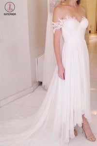 A-line Off-the-shoulder Chiffon Beach Wedding Dress with Sweep Train,Bridal Dresses KPW0095