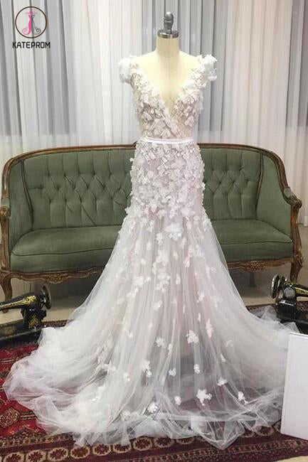 Unique Mermaid V-neck Tulle Wedding Dress with Hand-made Flowers,Tulle Prom dress KPW0096