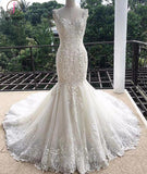 Gorgeous Mermaid Sweetheart Sleeveless Lace Tulle Long Wedding Dress,Lace Bridal Dress KPW0097