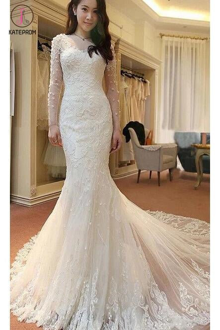 Ivory Long Sleeves Mermaid Lace Appliques Tulle Wedding Dress with Train,Beach Wedding Dress KPW0099