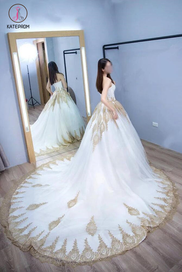 Princess Ball Gown Strapless Court Train White Tulle Wedding Dress with Gold Lace,bridal dress KPW0100