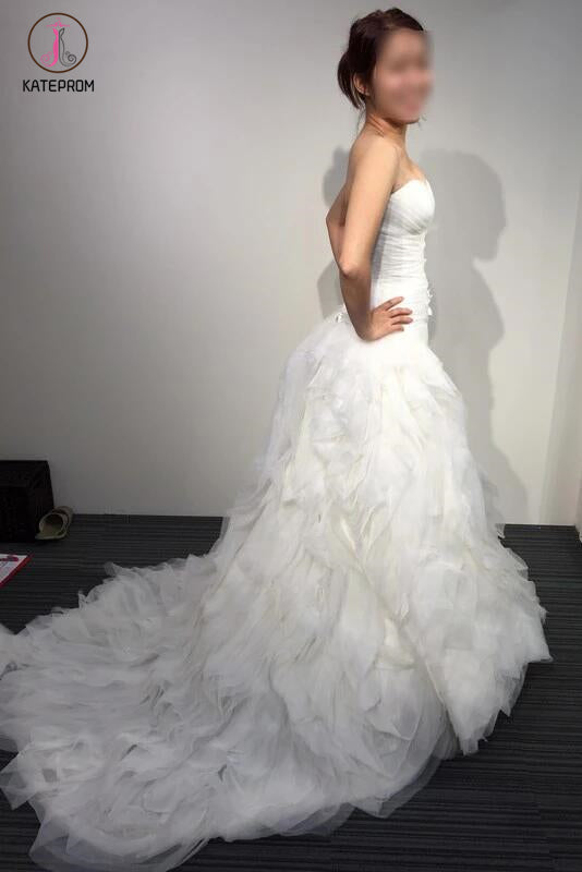 A-line White Princess Strapless Sweetheart Ruffles Tulle Long Beach Wedding Dress KPW0102