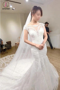 White Cap Sleeves Mermaid Court Train Tulle Wedding Dress with Lace Applique KPW0105