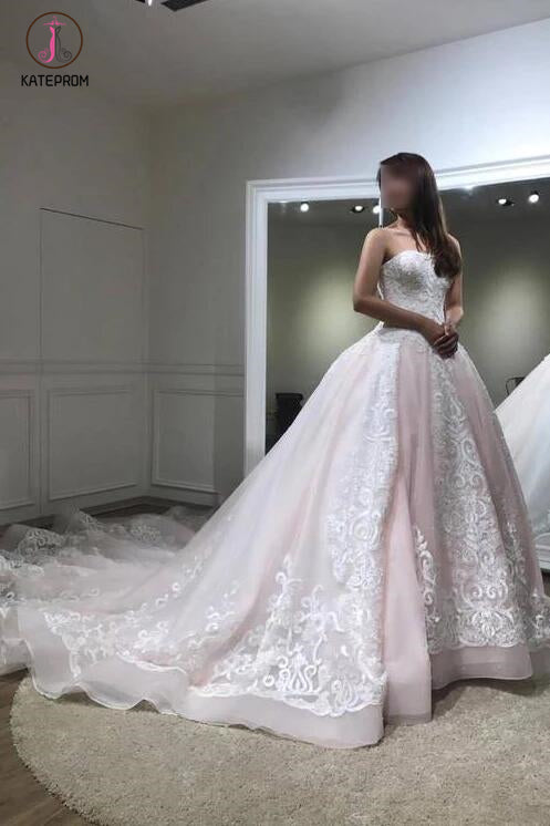 Gorgeous Ball Gown Baby Pink Lace Appliques Wedding Gown,Princess Bridal Dresses KPW0106