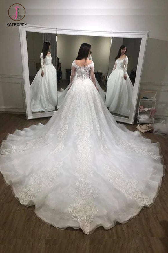 Luxurious Ball Gown Long Sleeves Court Train White Lace Applique Wedding Dress KPW0107