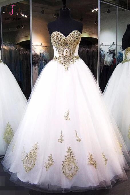 White Strapless Sweetheart Floor-length Ball Gown Bridal Dress with Gold Lace Appliques KPW0108