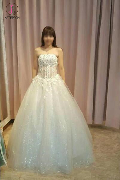 Elegant Strapless Floor-length Ball Gown Wedding Dress with Flowers,Prom Gown KPW0109
