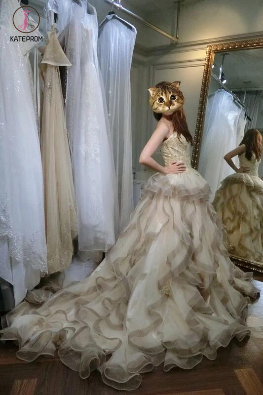 Gorgeous Beige Sweetheart Gray Ruffles Court Train Wedding Dress with Gold Top KPW0110