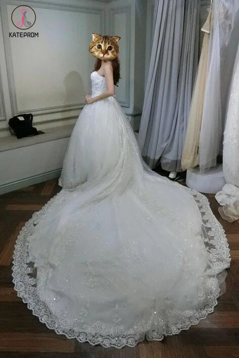 White Sweetheart Ball Gown Beading Lace Appliques Court Train Wedding Dress KPW0111